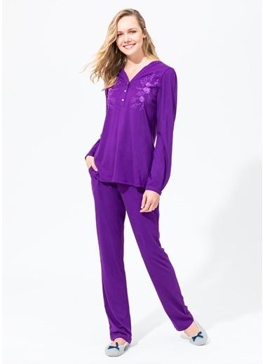 Dagi V Patlı Uzun Kollu Pijama Takımı Mor